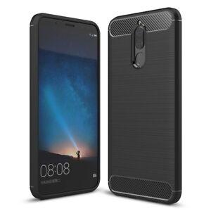 Huawei-Mate-10-Lite-Handy-Huelle-TPU-Case-Carbon-Fiber-Schutz-Cover-Schwarz-Neu