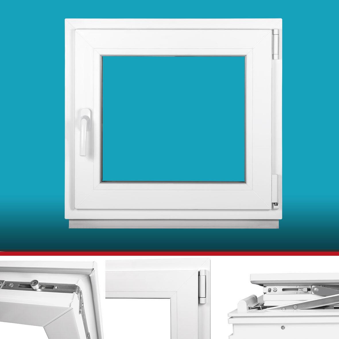 Kunststofffenster Fenster - 3 fach - BxH 85x55 cm - weiß - Dreh Kipp - Premium