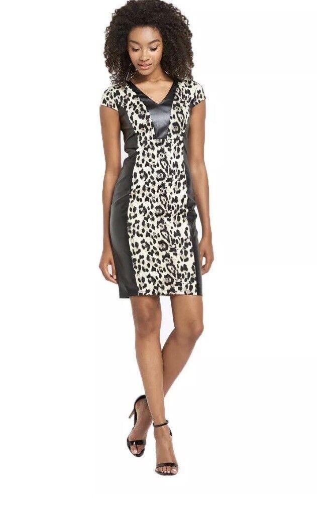 NEW Animal print PU Bodycon   sheath Dress Size UK10