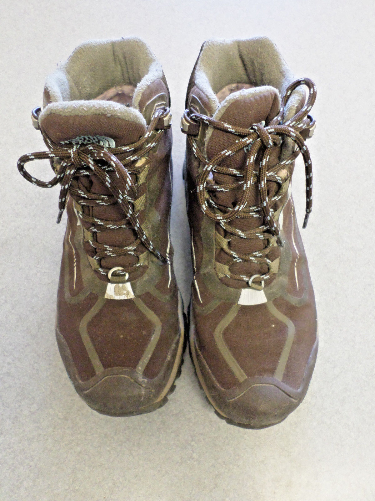 The North Face brown synthetic, 5 in tall hiking boots. Women's 7.5