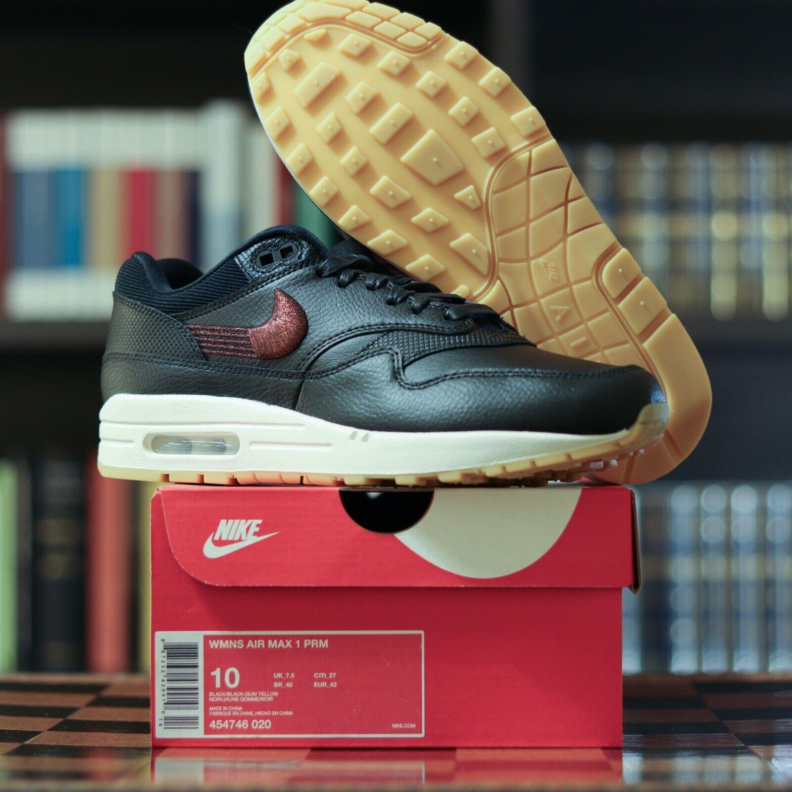 Nike Wmns Air Max 1 PREMIUM BLACK GUM EUR 42 UK 7.5 US 10 Cm