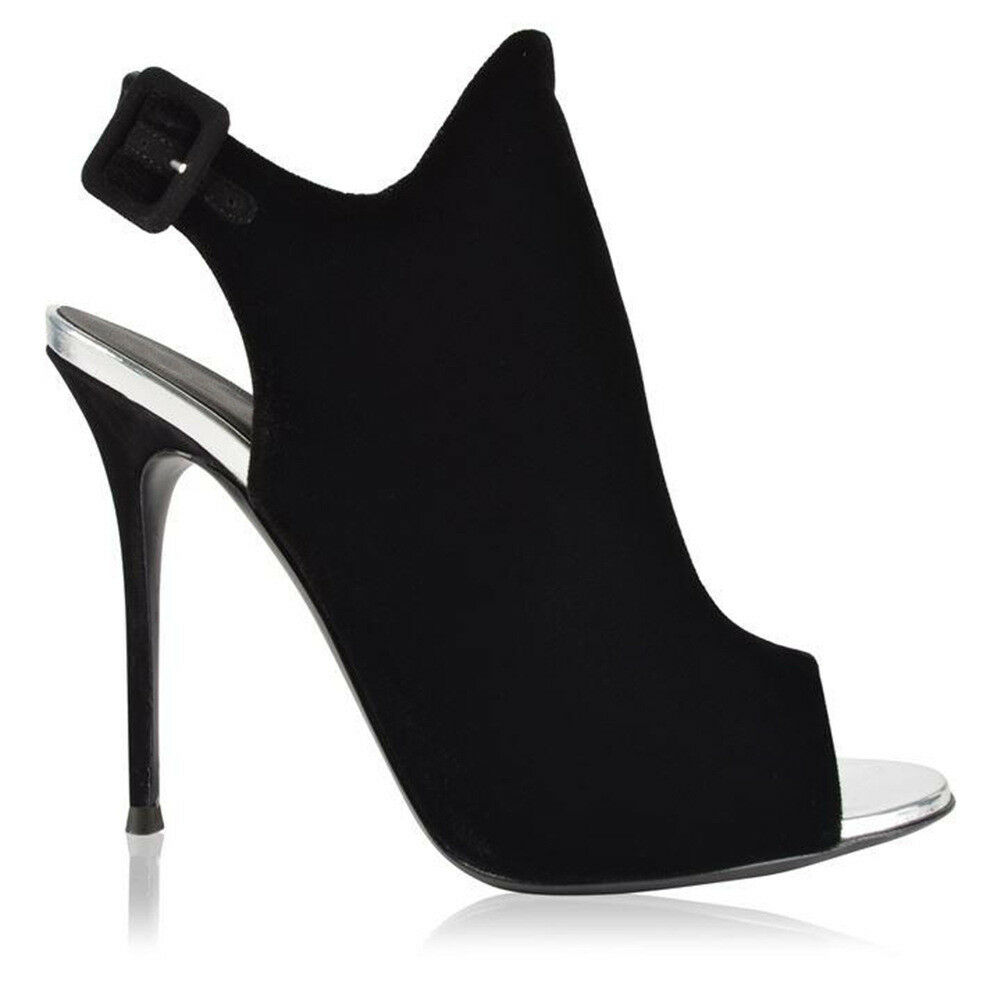 Women Black Stiletto Slingback Sandals Open Toe Sexy Sexy Sexy High Heel Buckle shoes Club e98b19