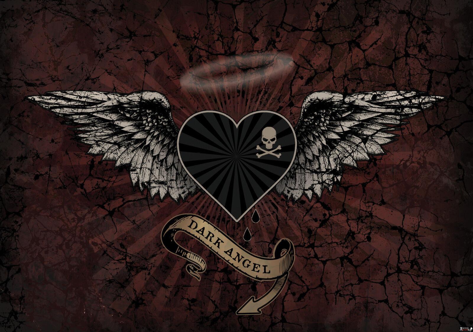 VLIES Fototapete-DARK ANGEL WINGS-(2366)-Alchemy Wings Skull Totenkopf Herz xxl