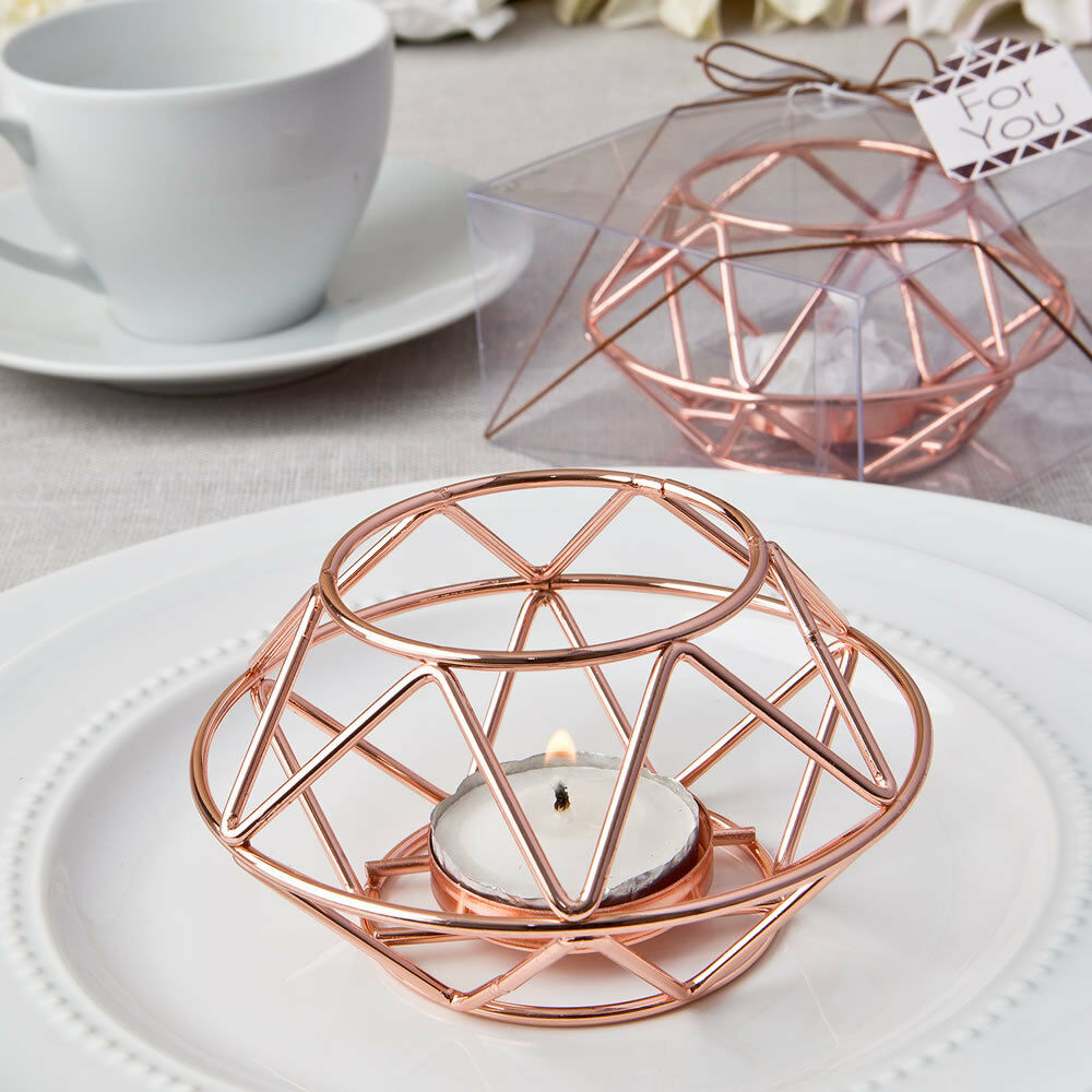 6 x pink gold Geometric Tea Light Votive Candle Holder Wedding Favours Gifts