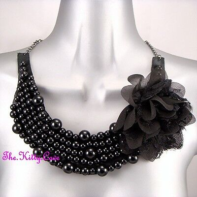 Large Black Beads Lace Fabric Flower Corsage Bib Gothic Statement Oasis Necklace
