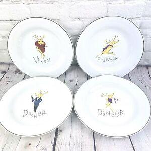 4-ea-POTTERY-BARN-REINDEER-Small-Dessert-8-5-034-PLATES-DASHER-DANCER-PRANCER-VIXEN