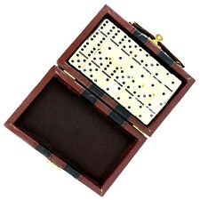 NEW Perrini 28pc Double Six Black Dot Dominoes Game Set w/ Faux Leather Case