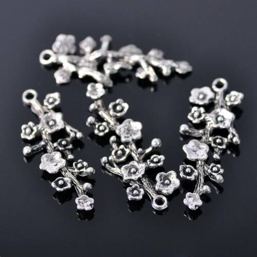 10pcs 42X16mm Tibetan Silver Plum Flower Metal Beads Craft Findings Pendants 21#