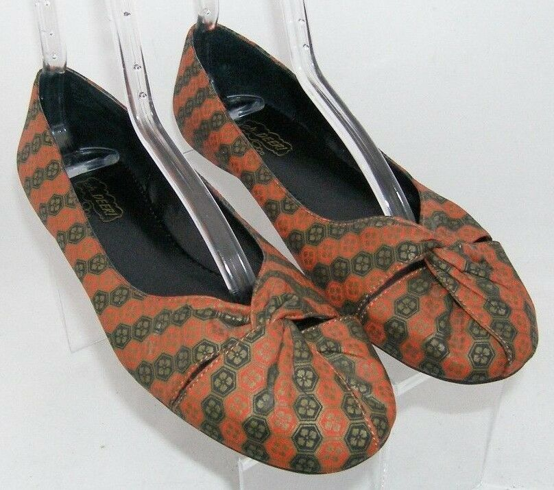 Oh Deer  'Smartee' man made fabric geometric round toe knotted ballet flats 8M