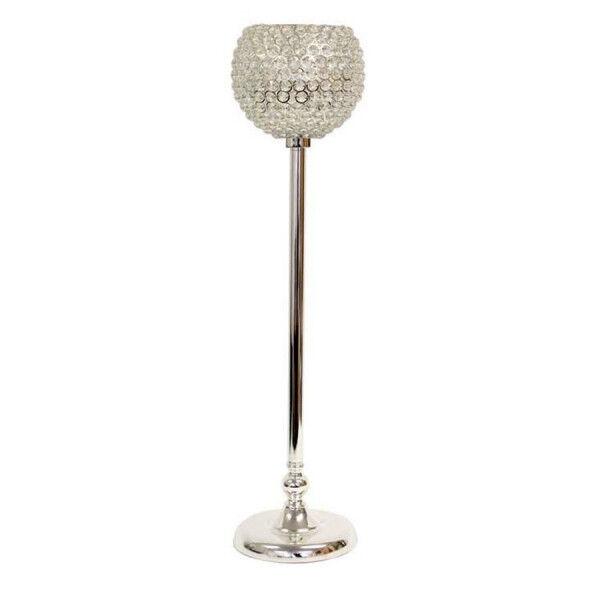 10 x 80 cm cristal globe candélabre table de mariage centre de table argent