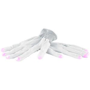 Leuchthandschuhe: Weiße LED-Disko-Handschuhe mit 6 Leuchtprogrammen, Größe S