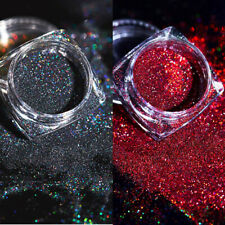 2 Boxes Holographic Laser Glitter Nail Powder Red Black Pigment Dust Manicure