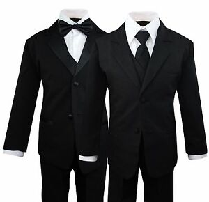 a947e450d Boys Kids Children Formal Dress Black Suit Tuxedo Toddler 2T-14 ...