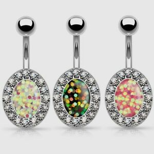 Details About Gem Paved Oval Faux Resin Opal Belly Button Ring Navel Jewelry 3 Colors