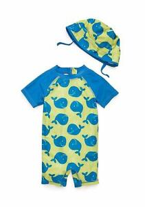 30f4e74fd57 NURSERY RHYME Baby Boy 12M Whale 1-Piece Rashguard   Hat Swim Set ...