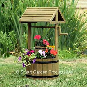 Image Is Loading Woodland Wooden Wishing Well Planter Pot Plants Flowers