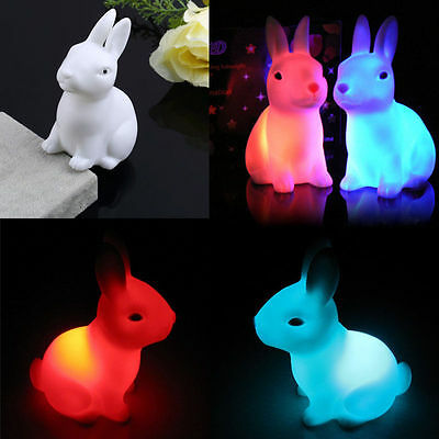 NEWEST COLOR CHANGING LED LAMP NIGHT LIGHT RABBIT SHAPE HOME PARTY DECOR GIFT
