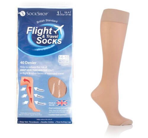 1 Pair Sockshop 40 Den Compression DVT Flight and Travel Socks 4-7 uk Natural