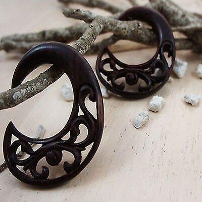 Pair Beautiful Hand Made Crescent Wood Vine Ear Hangers Gauges Plugs NEW USA