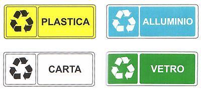 Riciclaggio targhette. Set 4 ADESIVI Materiali di Riciclo 330x125 mm