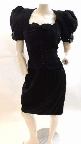 Vintage 1980s puff sleeve suit by Victor Costa
