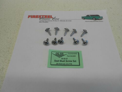 1955 1956 1957 Chevy #20-004C SEAT SHELL Screw Set  10 pc New