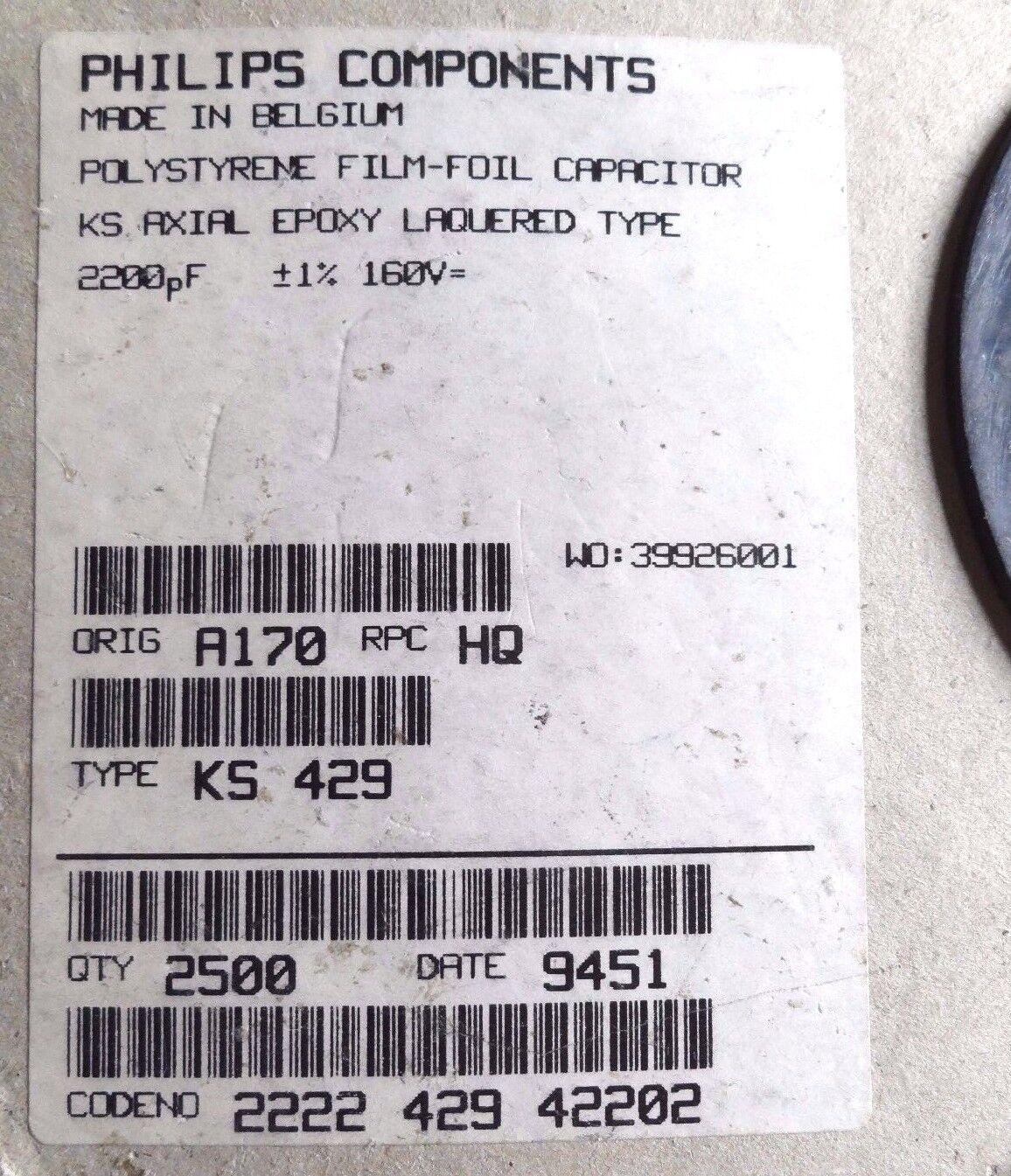 10 Philips KS429 2200pf 160v Epoxi Poliestireno 1/% Condensador 2n2 429-42202