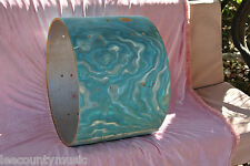 """60s GRETSCH 20"""" AQUA SATIN FLAME BASS DRUM REPLACEMENT SHELL for YOUR SET! #H605"""