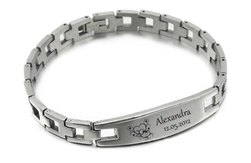 Refinado ID pulsera de acero inoxidable pulseras de socios con grabado según preferencias con Box