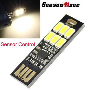 6 LED USB Sensor Control Mini Soshine Night Lamp Portable Card Lamp YellowLight
