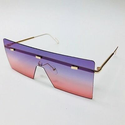 Fashion Designer Oversized Single Lens Rimless Metal Big Women Men Sunglasses