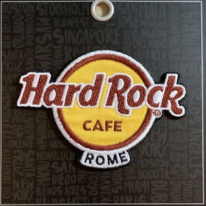 Hard-Rock-Cafe-ROME-2018-Classic-HRC-Logo-PATCH-on-BLACK-Card-Iron-Sew-On-NEW