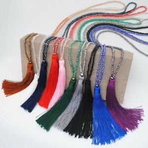 Charm-Silk-Tassel-Pendant-Necklaces-Glass-Beads-Crystal-Long-Chain-Women-Jewelry