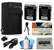 2 Pcs EN-EL19 Battery + Charger for Nikon Coolpix S32 S3500 S3600 S4100 S4150