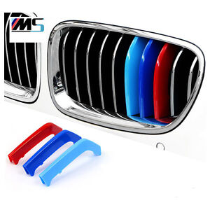 M Tri Color Front Grille Hood Decorative Car Badge Fit For