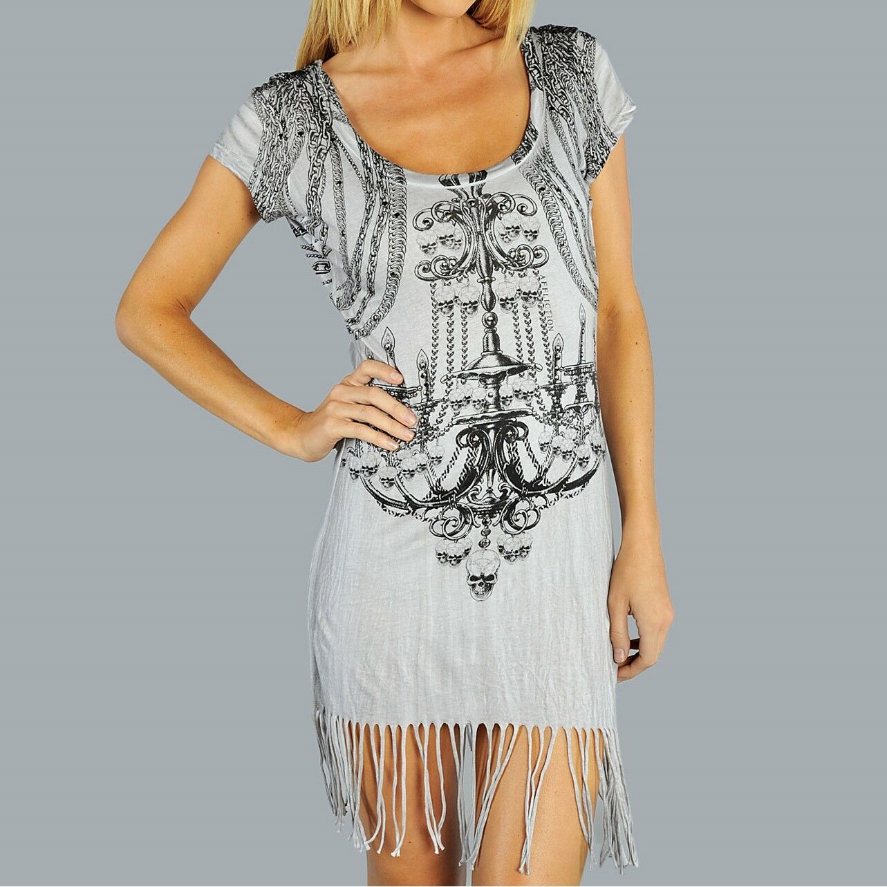 Affliction CHANDELIER damen Dress S Small NWT NEW Skull Fringe