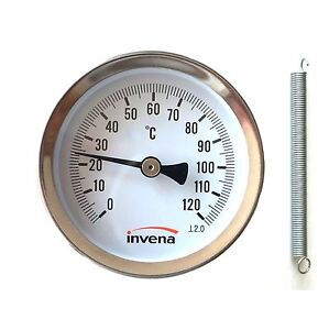 Home & Industrial CLIP ON PIPE THERMOMETER TEMPERATURE GAUGE DIAL with spring