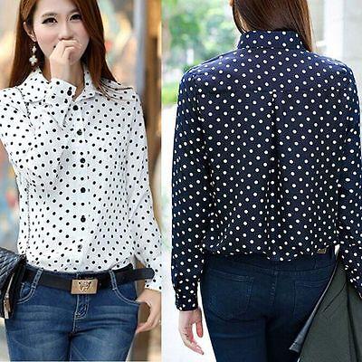 Women Polka Dot Chiffon Long Sleeve Button Loose Tops Blouse Casual T Shirt