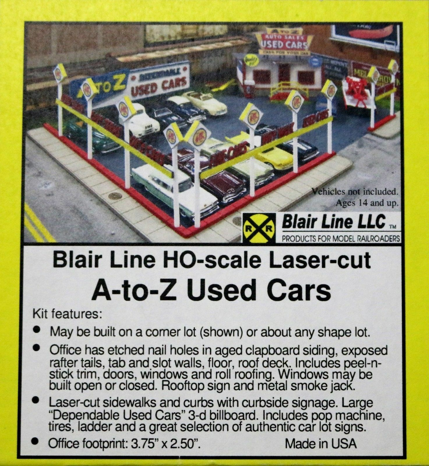 Blair Line NIB #197 A to Z USED CARS * Wood Laser Kit HO-Scale