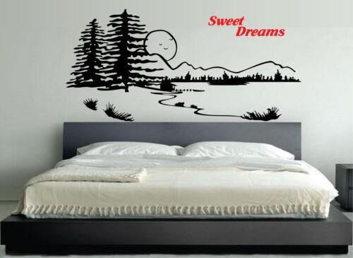 WALL STICKERS ADESIVI MURALI Sweet Dreams Montagna NOTTE DOLCI SOGNI AMORE LETTO