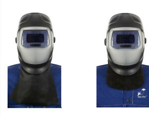WELDAS Welder Front Neck Protection, Black Leather (choose lenght) HIGH QUALITY