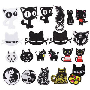 Black-Cat-Badges-Embroidered-Animal-Iron-on-Patch-Child-Cute-Emblem-Hat-Bag-Logo