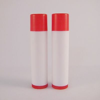 Chapstick Empty Lip Balm White Tube Case Red Cap Cosmetic DIY Container 0.15 OZ
