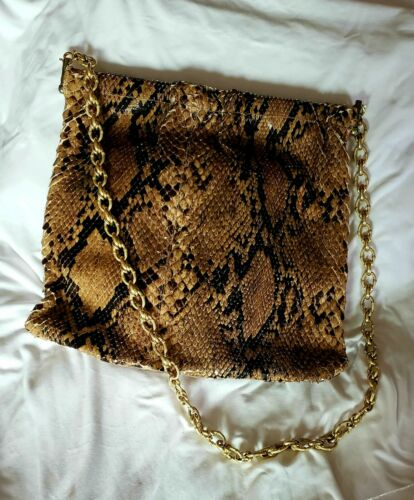 Genuine Python Large diamond hinge Snakeskin Purse