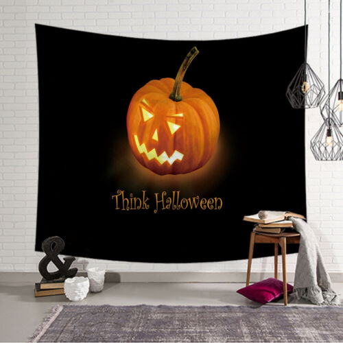 Think Halloween Pumpkin Tapestry Wall Hanging Blanket Party Home Décor 95cm MA