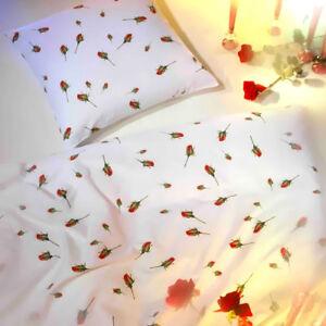 Kaeppel Mako Satin Bettwäsche 155x220 Cm Rosen Knospen 8448 Weiß Rot