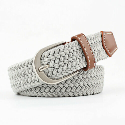 Men/'s Leather Covered Buckle Woven Canvas Elastic Stretch Belt Waistband new
