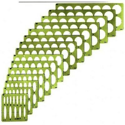 """Isometric Ellipse Guide Template 27 ellipses size from 1//8 to 2/"""",GREEN PLASTIC"""