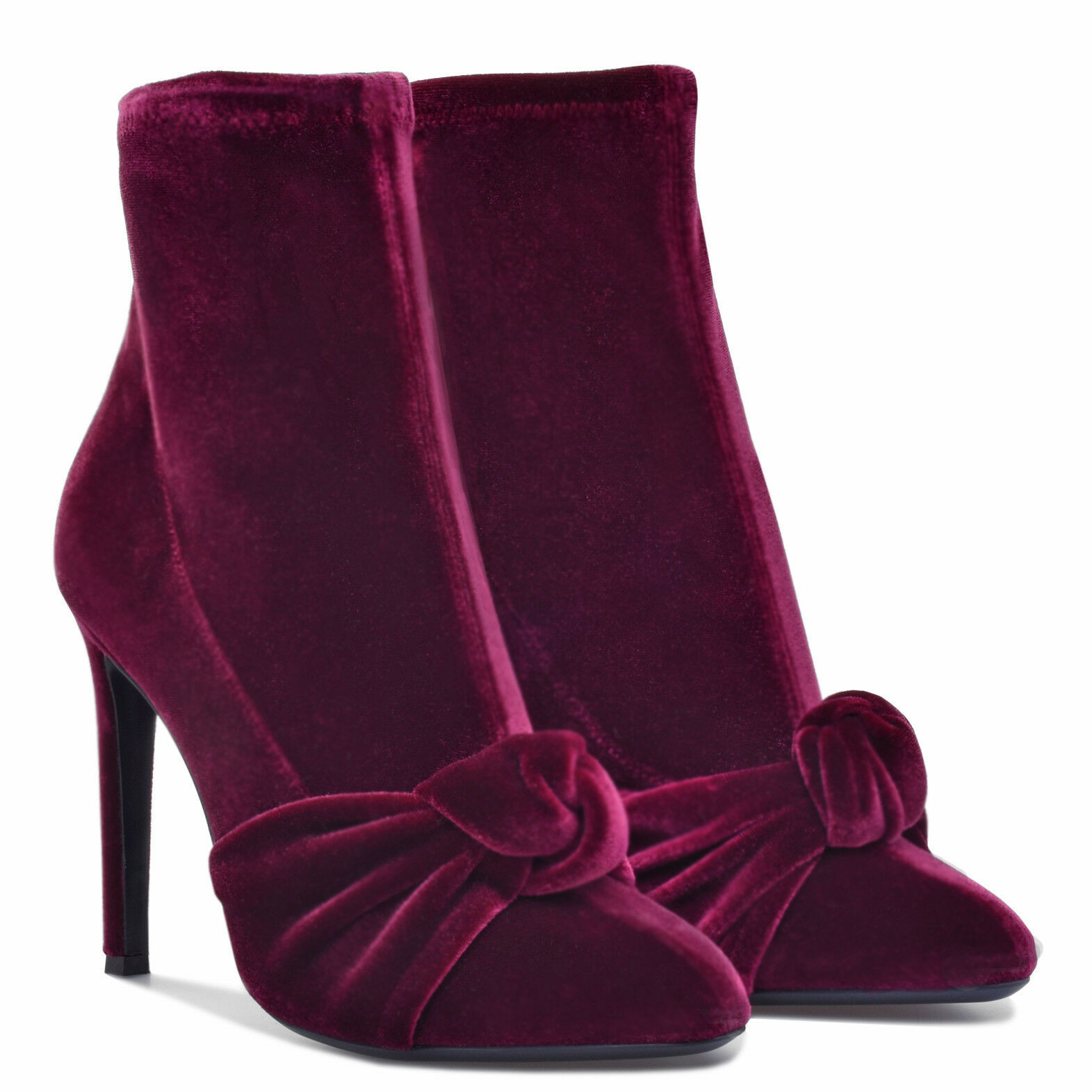 WOmen's High Heels Stilettos Pointed toe Velet Bowknot Ankle Boots US4.5-11.5