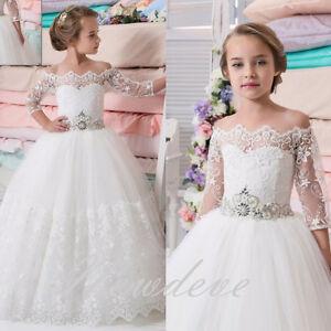 03fab33ba98d5 Robe De Fille Blanc Perles Robe Enfant Robe Fille de fleurs de ...